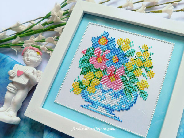 Imitating Embroidery in Dot Painting Technique | Livemaster - handmade
