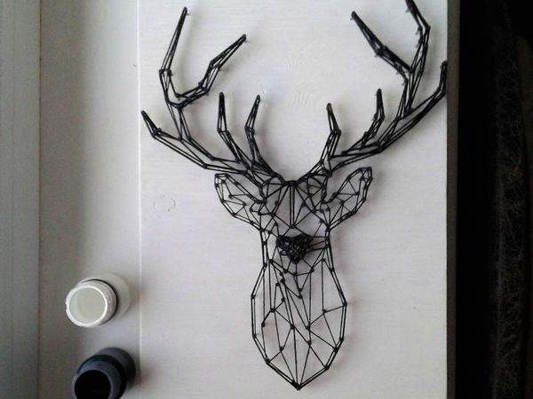 Создаем контурного оленя в технике String Art | Ярмарка Мастеров - ручная работа, handmade