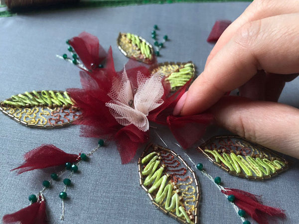 Кутюрная вышивка лентами   Ярмарка Мастеров - ручная работа, handmade