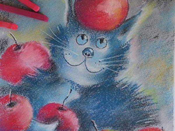 Мастер-класс для начинающих: рисуем пастелью кота с яблоками | Ярмарка Мастеров - ручная работа, handmade