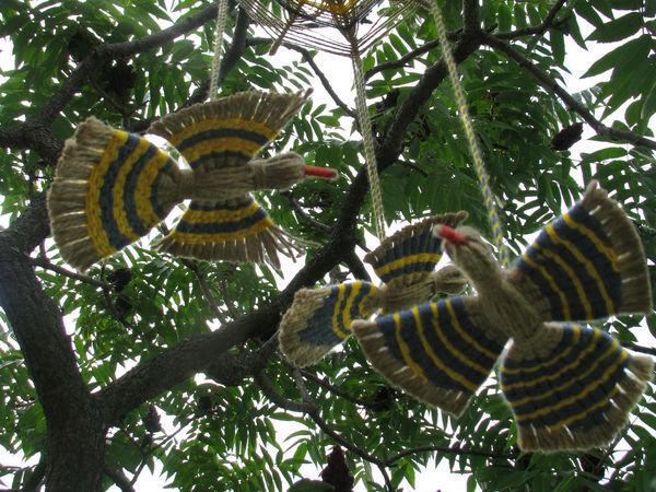 Делаем подвеску «Птицы счастья» из джутового шпагата и разноцветных нитей | Ярмарка Мастеров - ручная работа, handmade