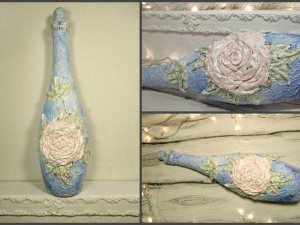 Делаем винтажную бутылку с объёмной розой | Ярмарка Мастеров - ручная работа, handmade
