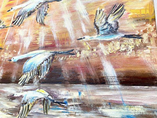Картина маслом «Журавли, птицы высокого полета» (видео) | Ярмарка Мастеров - ручная работа, handmade