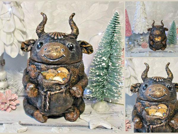 Символ года: шкатулка-бычок из консервной банки   Ярмарка Мастеров - ручная работа, handmade