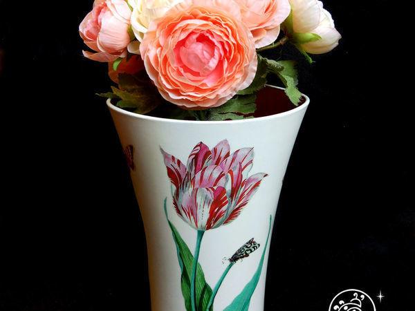 Декорируем пластиковую вазу имитацией фарфора и росписи   Ярмарка Мастеров - ручная работа, handmade