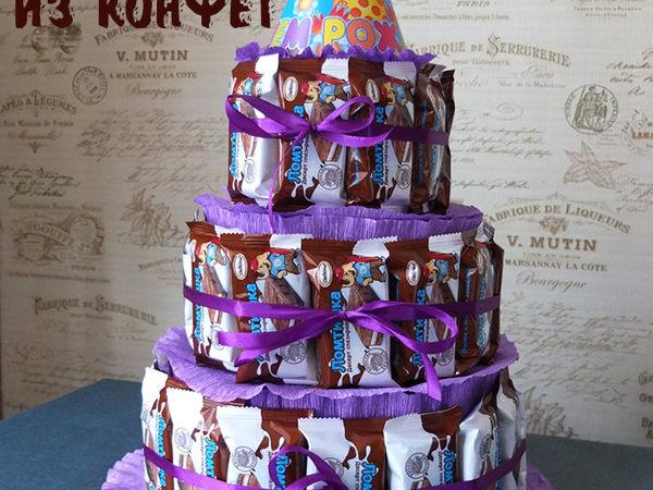 Торт из конфет для детей своими руками   Ярмарка Мастеров - ручная работа, handmade