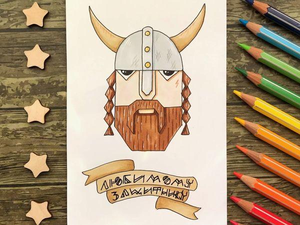 Tutorial: Minimalistic Viking Postcard   Livemaster - handmade