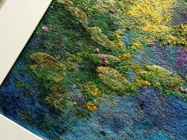 Создаем картину «Волшебное озеро» в смешанной технике   Ярмарка Мастеров - ручная работа, handmade