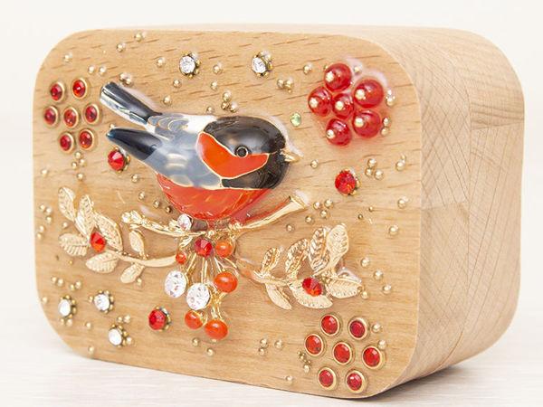Шкатулка для украшений  «Снегирь»   Ярмарка Мастеров - ручная работа, handmade