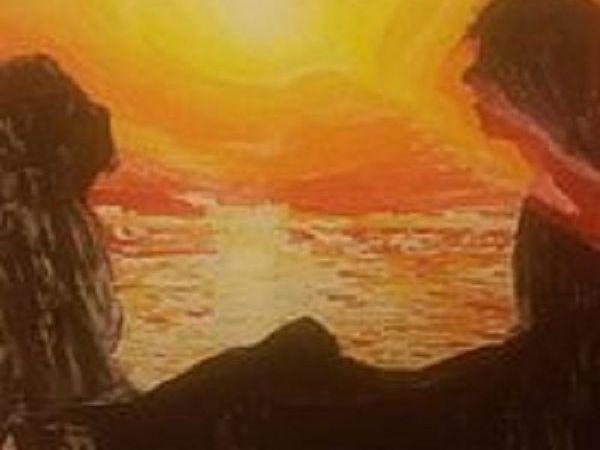 Картина на холсте по номерам. Влюблённые на закате | Ярмарка Мастеров - ручная работа, handmade