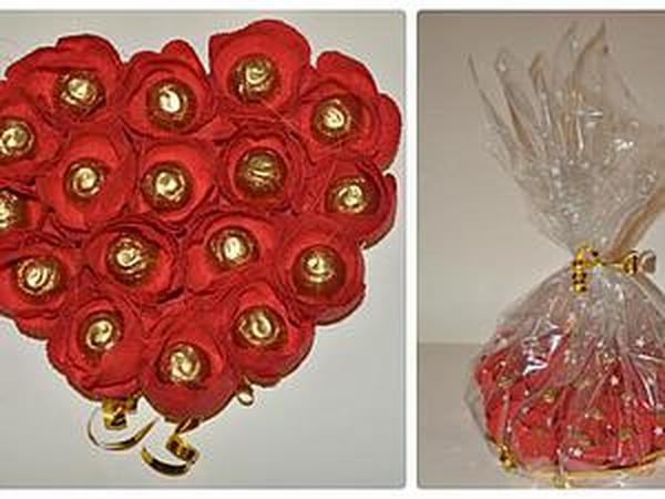 Делаем букет из конфет в форме сердца | Ярмарка Мастеров - ручная работа, handmade