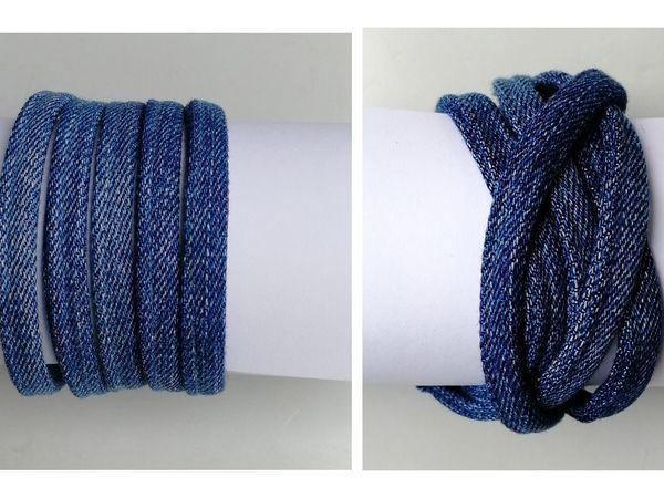 Видеоурок: браслет из джинсовых шнуров с вариациями | Ярмарка Мастеров - ручная работа, handmade