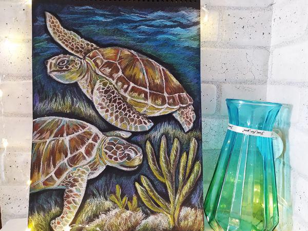 Рисуем подводный мир. Рисунок морских черепах масляной пастелью | Ярмарка Мастеров - ручная работа, handmade