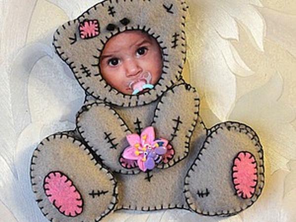 Мастер-класс: детская фоторамка «Костюмчик Тедди» из фетра | Ярмарка Мастеров - ручная работа, handmade