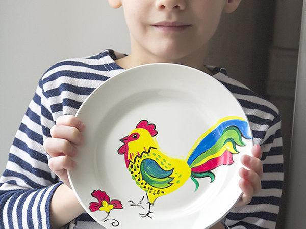 Готовим подарок на Новый год для бабушки: расписная тарелочка с петушком | Ярмарка Мастеров - ручная работа, handmade