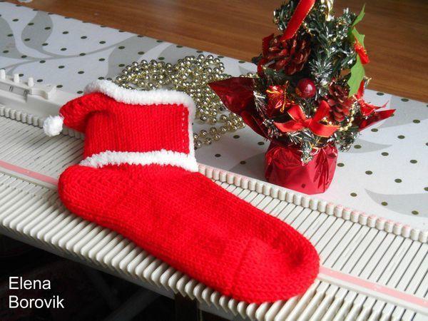 Новогодние носочки с капюшоном на вязальной машине Silver Reed LK150 | Ярмарка Мастеров - ручная работа, handmade