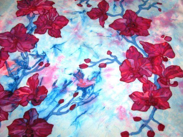 Расписываем платок в технике узелковый и холодный батик | Ярмарка Мастеров - ручная работа, handmade