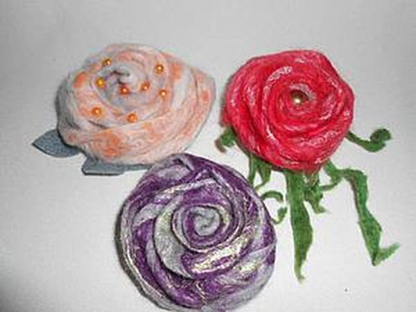 Мастер-класс: изготовление розы из валяной ленты | Ярмарка Мастеров - ручная работа, handmade