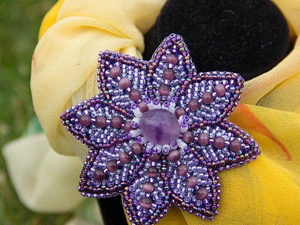 Как сделать брошь-заколку «Цветок клематиса» своими руками   Ярмарка Мастеров - ручная работа, handmade