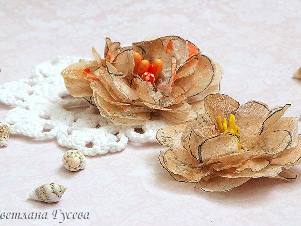 Мастерим пышные цветы из пакетиков для чая   Ярмарка Мастеров - ручная работа, handmade
