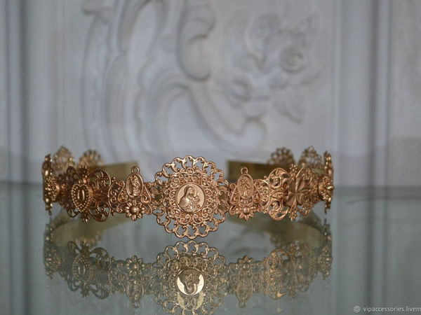 Тиара Golden Metallic комплект в стиле Dolce & Gabbana   Ярмарка Мастеров - ручная работа, handmade