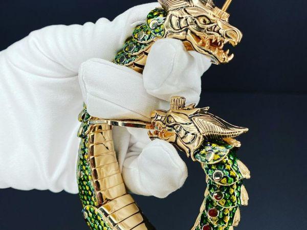 Золотой браслет Дракон | Ярмарка Мастеров - ручная работа, handmade