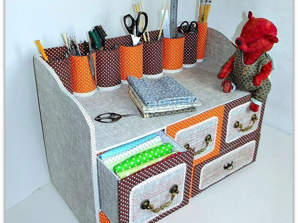 Делаем из картона вместительный комод с выдвижными ящичками для рукоделия   Ярмарка Мастеров - ручная работа, handmade