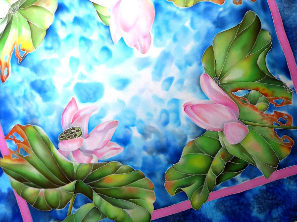 Как рисовать лотосы и воду на шелке. Роспись платка | Ярмарка Мастеров - ручная работа, handmade