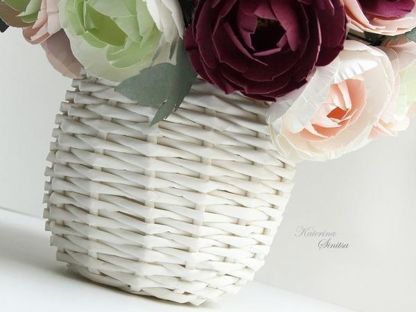 Плетём корзинку-вазу из бумажной лозы   Ярмарка Мастеров - ручная работа, handmade