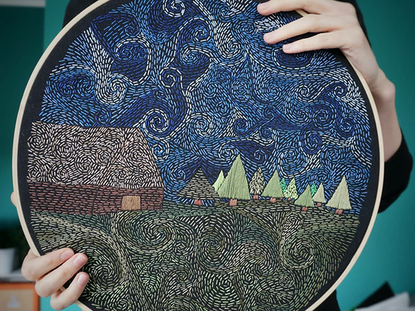 Embroidery about Darkness and Silence Reminding about Night Secrets by Naniewymiar | Livemaster - handmade