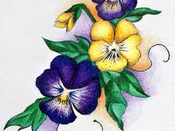 Расцветают «Анютины глазки»... Подробный мастер-класс по росписи хлопка акрилом   Ярмарка Мастеров - ручная работа, handmade