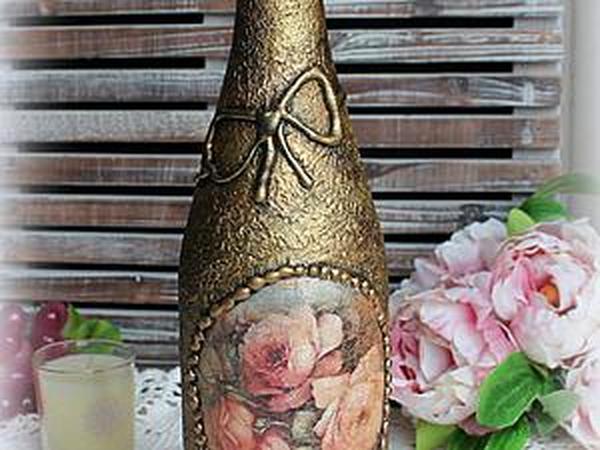 Декорируем стеклянную бутылку в технике декупажа | Ярмарка Мастеров - ручная работа, handmade