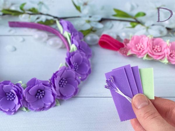 Ободок с цветами из фоамирана своими руками | Ярмарка Мастеров - ручная работа, handmade