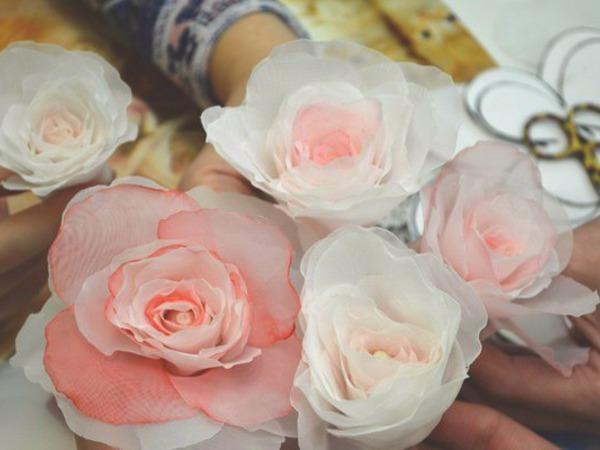 Создание розы из вуали по японской методике.   Ярмарка Мастеров - ручная работа, handmade