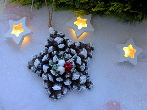 Делаем елочную игрушку звездочку из шишки. Видео мастер-класс | Ярмарка Мастеров - ручная работа, handmade
