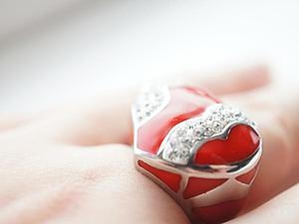 Аукцион!!! Кольцо из медицинской стали с эмалью и сваровски!   Ярмарка Мастеров - ручная работа, handmade