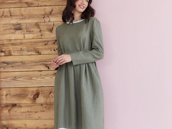 Обзор льняного платья Алиса в оливковом цвете | Ярмарка Мастеров - ручная работа, handmade