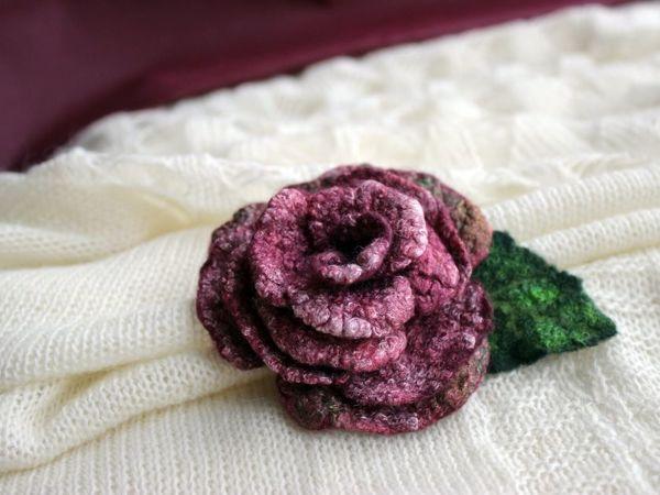Мастерим брошь-розу из валяной шерсти | Ярмарка Мастеров - ручная работа, handmade