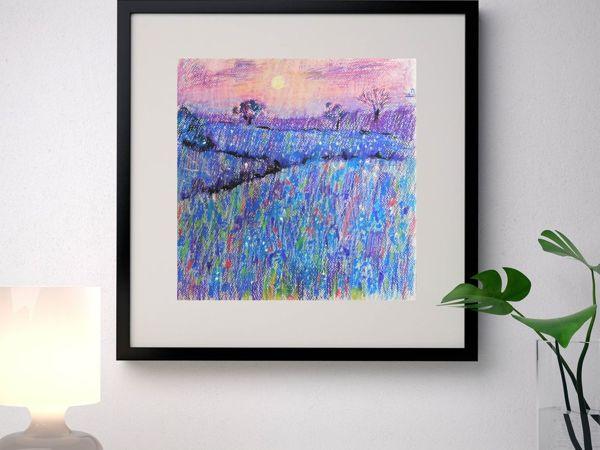 Drawing Flower Field with Oil Pastel | Livemaster - handmade