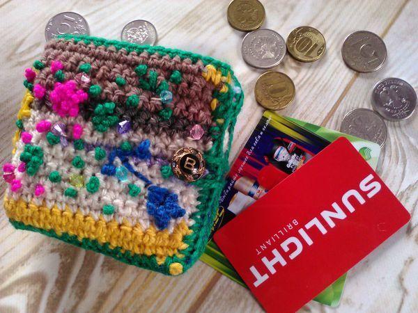 Вяжем кошелек из остатков пряжи | Ярмарка Мастеров - ручная работа, handmade