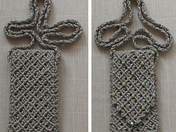 Плетем сумочку для мобильного телефона | Ярмарка Мастеров - ручная работа, handmade