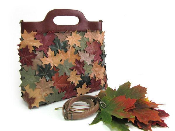 0b35c0eb7cc0 Шьем сумку-пакет из кожи и ткани «Листопад» | Ярмарка Мастеров - ручная