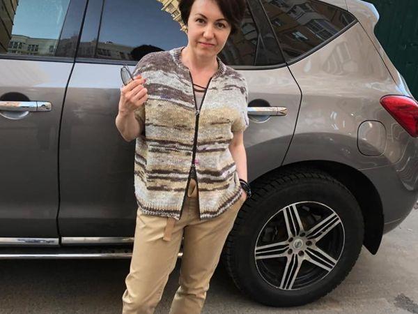 Бомбер-жилет, связан спицами | Ярмарка Мастеров - ручная работа, handmade