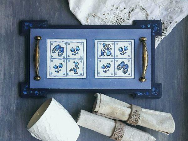 Декор подноса с керамической плиткой | Ярмарка Мастеров - ручная работа, handmade
