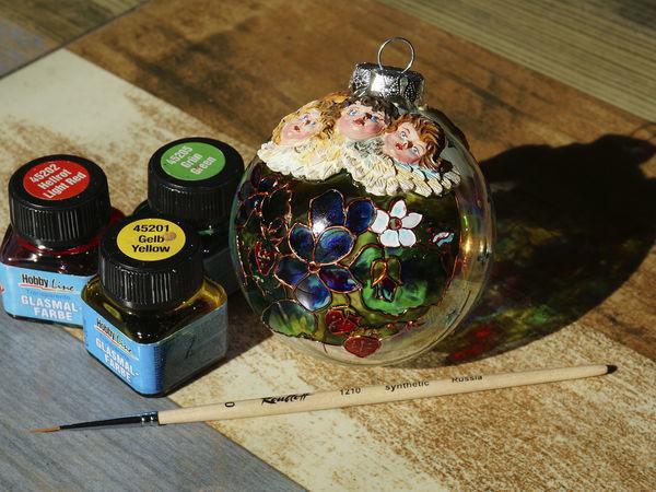 Расписываем елочный шарик: витражная роспись и объемный декор   Ярмарка Мастеров - ручная работа, handmade