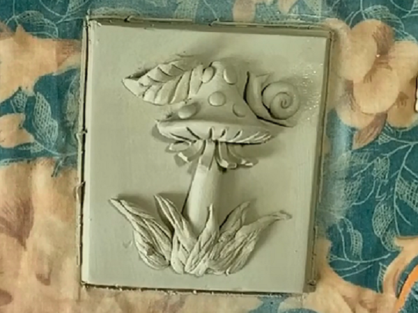 Картина из глины своими руками. Барельеф «Гриб Мухомор»   Ярмарка Мастеров - ручная работа, handmade