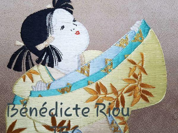 Японская девочка: вышивка гладью от Benedicte Riou | Ярмарка Мастеров - ручная работа, handmade