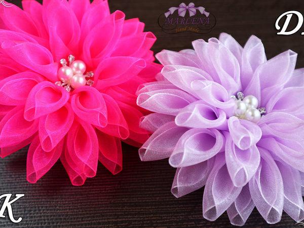 Видео мастер-класс: делаем цветы из органзы   Ярмарка Мастеров - ручная работа, handmade