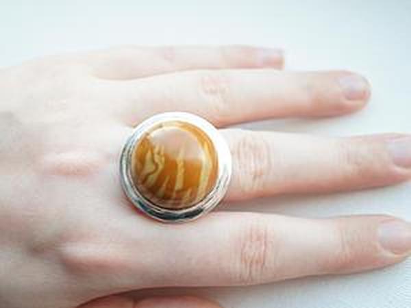 Аукцион!!!Кольцо из серебра 925 пробы и древесной яшмы!   Ярмарка Мастеров - ручная работа, handmade