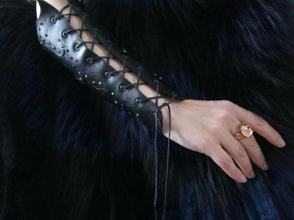 Изготавливаем стильный браслет-наруч из кожи | Ярмарка Мастеров - ручная работа, handmade